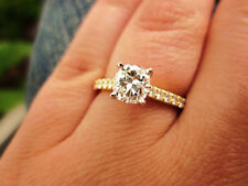 2.10 Ct. Natural Round Cut Pave 14k Yellow Gold Diamond Engagement Ring GIA Cert