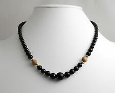 "Vintage Black & Golden CORAL Graduated Beads NECKLACE 18"" 14K clasp & finding"