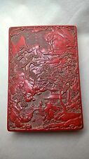 Superb Japanese Cinnabar Lacquer Box. Intricate Deep Carving and Internal Tray.