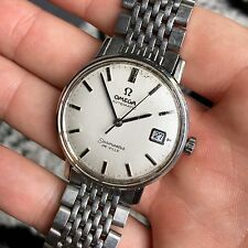 Vintage Omega Seamaster De Ville 563 Stainless Steel Date White Watch 1970's