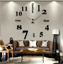 Luxurious Large Number Analog Wall Clock 3D Mirror Surface Sticker Modern Decor