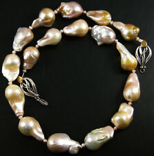 WILD! HUGE GENUINE MAUVE GOLD FRESHWATER FLAMEBALL PEARL NECKLACE