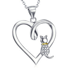 925 Sterling Silver White&Golden cat Sitting in the open heart necklace pendant