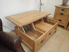 VANCOUVER  OAK 1 DRAWER/ STORAGE LIFT LID TABLE COFFEE TABLE NB067