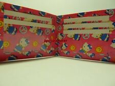 HANDMADE DUCT TAPE WALLET PINK WITH SUNSHINE AND PEACE HELLO KITTY ALL OVER IT