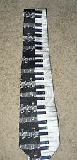 PIANO Keyboard Music Theme Man's Neck Tie, Black & White