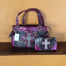 PURPLE CAMO PURSE AND WALLET SET W/ BLING CROSS