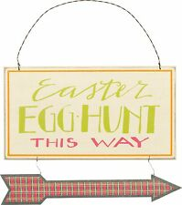 NEW~Easter Egg Hunt This Way~WOOD/METAL PLAQUE/HANGING/ORNAMENT/TREE/WREATH/SIGN