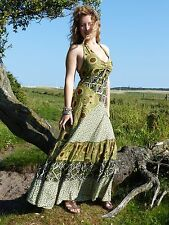 Womens Halter Neck Maxi Dress Ethnic Boho Hippie Festival  Free Size 8-14