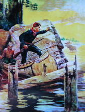 Hunters Canoe Moose by Robert Farrington Elwell  Vintage art         Fishermen C