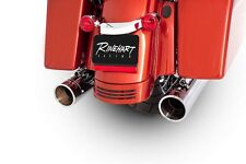 "Rinehart Chrome Exhaust 4"" Slip On Mufflers Chrome Tips for Harley Touring 95-up"