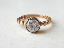 Rose Gold Plated 925 Sterling Silver Turkish 1 Stone White Topaz Ring Sz 8 Round
