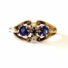 10k yellow gold ladies created sapphire pearl seed ring 2.5g estate vintage