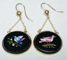 Antique Micro Mosaic Bird Earrings in Gold Italy, Grand Tour