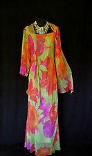 CATTIVA tamaño 16 18 Lima Rosa Naranja Rojo Floral vestido de diseñador de seda señoras chaqueta