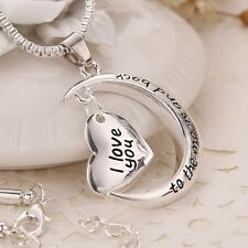 New Women Heart Crystal Rhinestone Silver Plated Chain Pendant Necklace Jewelry