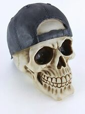 Collectible SKULL WITH BACKWARDS CAP Handpainted Resin Statue SKULLS DECOR