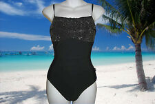 NEW SILVER by GOTTEX Black Studded 1 Piece BATHING SUIT SWIMSUIT size - 8