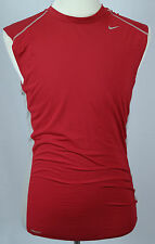 Men's Red & Gray Nike Fit Dry Fitted Stretch Sleeveless Workout Shirt/Tank XXL