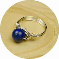 Round Lapis Lazuli and Sterling Silver Filled Wire Wrapped Ring- Any Size 4-14