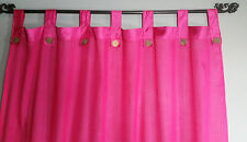Bali Natural Cotton Coloured Tab Curtains (Pair) Pink