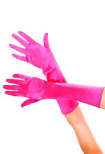 Neon Cerise Hot Pink Long Satin Gloves Sexy Lingerie P426