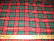 "Red/Hunter Travis Plaid100% Cotton Flannel Fabric 58"" Wide Sold By The Yard"