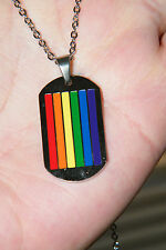 """GAY PRIDE Necklace RAINBOW Flag Colors LGBTQ! Dog Tag Pendant 20"""" SS Chain NEW!"""