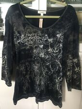 DRESSBARN WOMAN PLUS 3X SHIRT KNIT BLOUSE TOP 3/4 sleeve BLACK floral NEW TAGS
