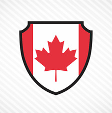 "4"" Canadian Flag Shield Vinyl Decal Bumper Sticker Maple Leaf Canada Car Window"