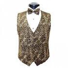 Brown Leopard Tuxedo Vest and Bowtie