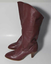 Vintage 70s Burgundy Leather Heel Western Pirate Slouch Cuff Boots 6M 36