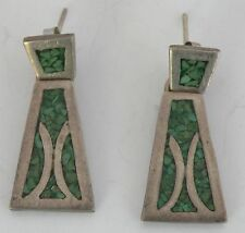 Vintage sterling silver earrings Mexican, Mexico, Taxco Chip inlay Turquoise