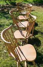 Bare Naked Wood Pennsylvania House Set of 5 Windsor Barrel Back Club Chairs LOOK
