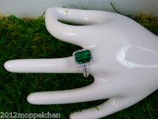 5 Karat grüner russischem Smaragd - Zirkonia Ring(Größe 18) 925er Sterlingsilber