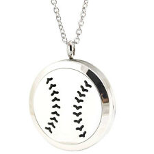 30mm Sport Baseball Aromatherapy Essential Oil Diffuser Locket Necklace Pendant