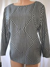 DRIES VAN NOTEN WOOL BLUE/BLACK STRIPED FRONT PACKETS BLOUSE 42