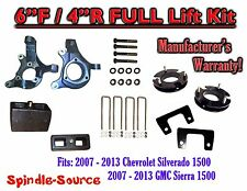 "2007 - 2013 Chevy Silverado GMC Sierra 1500  6""  / 4""  Spindle FULL LIFT KIT 2WD"