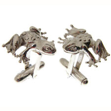 SILVER TOAD OR FROG CUFFLINKS. FULLY HALLMARKED AND MADE IN ENGLAND