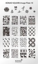 KONAD XL Square 10 stamping stencil Plate NailArt NATALE X-MAS GHIACCIO NEVE