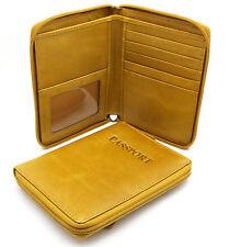 """Bifold Beige Yellow Genuine Leather """"Passport"""" Zip Around Large Wallet"""