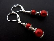 A PAIR OF DARK RED GLASS BEAD  SILVER  PLATED DANGLY LEVER BACK HOOK EARRINGS.