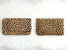 CHEETAH LEOPARD PRINT FOLDOVER Clutch Purse Animal Faux Fur Purse Bag Foldable