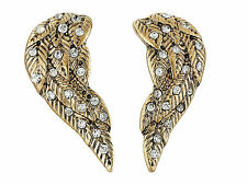 Betsey Johnson Heaven Sent Gold Crystal Wing Stud Earrings NWT $25