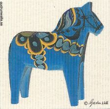 Dish Cloth Dala Horse Blue on White – Gurdun Walla Design