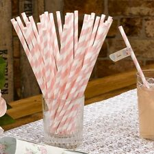 Pack of 25 With Love Design Paper Straws - Pink and White Wedding Retro Straws