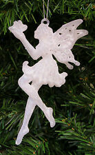 IRIDESCENT GLITTERED FAIRY/FAERIE HOLDING BUTTERFLY CHRISTMAS TREE ORNAMENT