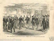 Paris Gare de Lyon Empereur Napoléon III & Sultan Turkey GRAVURE OLD PRINT 1867