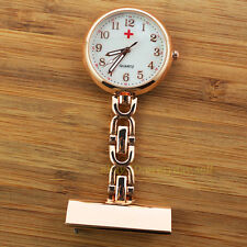Fashion Brand New Rose Gold Quartz Nurses Brooch Fob Pocket Watch with Pin