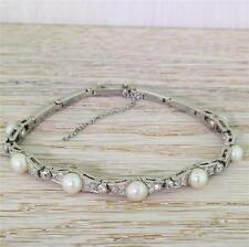ART DECO NATURAL SALTWATER PEARL & DIAMOND BRACELET - 18k White Gold - c 1945